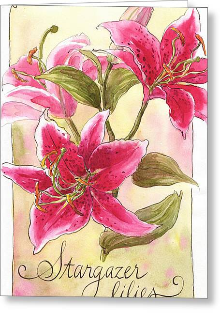 Stargazer Lilies Greeting Card by Leslie Fehling