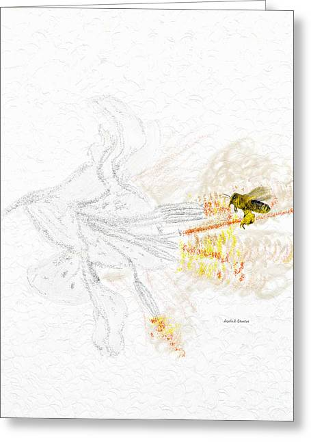 Heavenly Scent Greeting Cards - Stargazer Lily Heavenly Scent and the Bee Greeting Card by Angela A Stanton