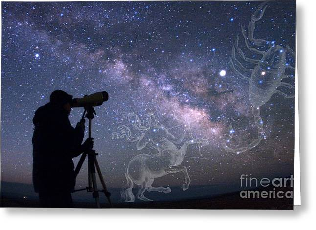 Constellations Photographs Greeting Cards - Stargazer Viewing Scorpius Greeting Card by Babak Tafreshi