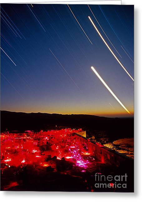 Amateur Photography Greeting Cards - Stargazers And Star Trails Greeting Card by Babak Tafreshi
