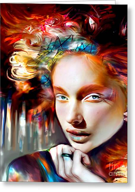 Abstract Style Greeting Cards - Stargirl I Bleed Color Greeting Card by Jaimy Mokos