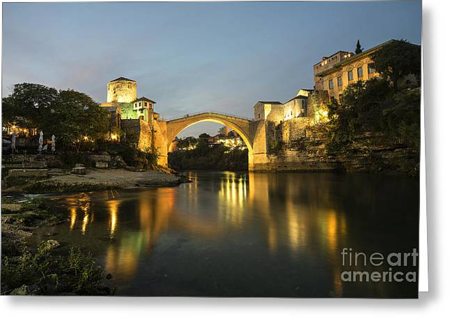 Staris Greeting Cards - Stari Most by night  Greeting Card by Rob Hawkins