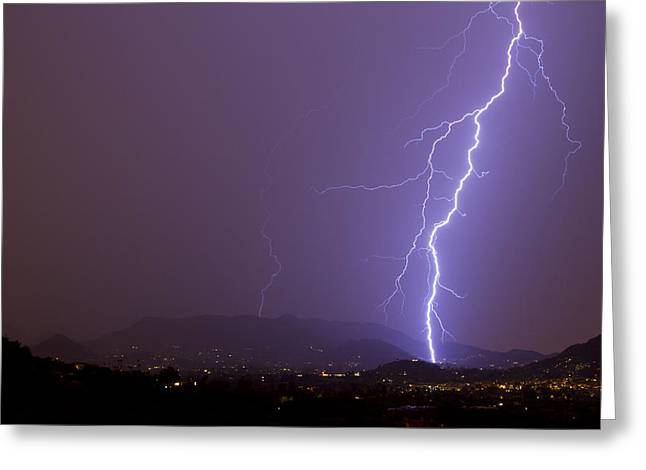 Scottsdale Lightning Greeting Cards - Staright Shot Greeting Card by Cathy Franklin