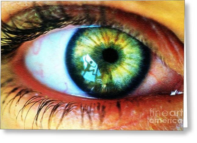 Eyelash Greeting Cards - Staring Eye with Reflection Greeting Card by Wernher Krutein