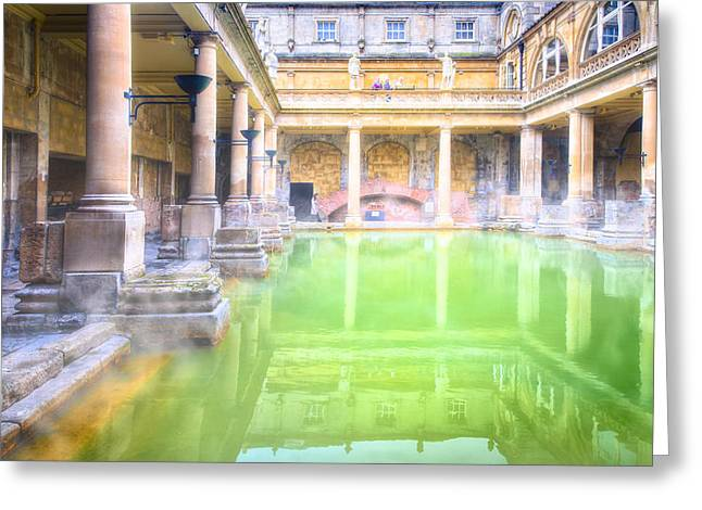 Steam Bath Greeting Cards - Staring Into Antiquity At The Roman Baths - Bath England Greeting Card by Mark Tisdale