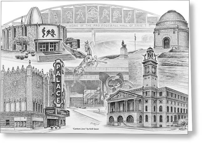 Fame Drawings Greeting Cards - Stark County Ohio Print - Canton Lives Greeting Card by Kelli Swan