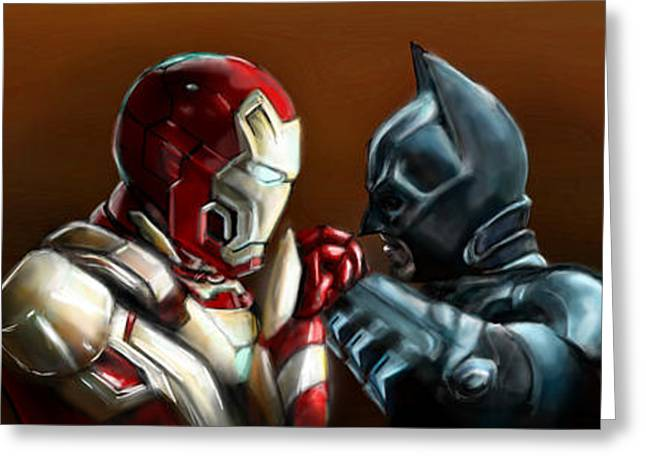 Christian Bale Greeting Cards - Stark Industries vs Wayne Enterprises Greeting Card by Vinny John Usuriello