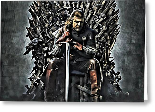 Recently Sold -  - Iron Greeting Cards - Stark on the Iron Throne Greeting Card by Florian Rodarte