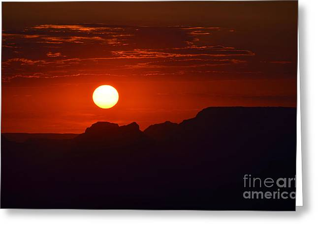Beauty In Nature Greeting Cards - Stark Orange Sunset Twilight over Silhouetted Spires in the Grand Canyon Greeting Card by Shawn O