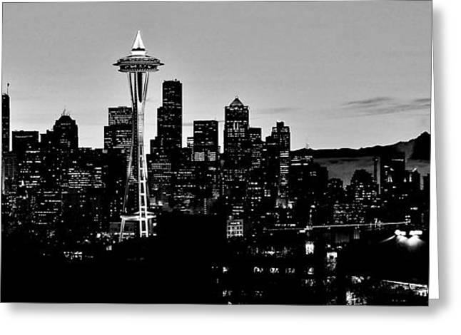 Seattle Skyline Greeting Cards - Stark Seattle Skyline Greeting Card by Benjamin Yeager