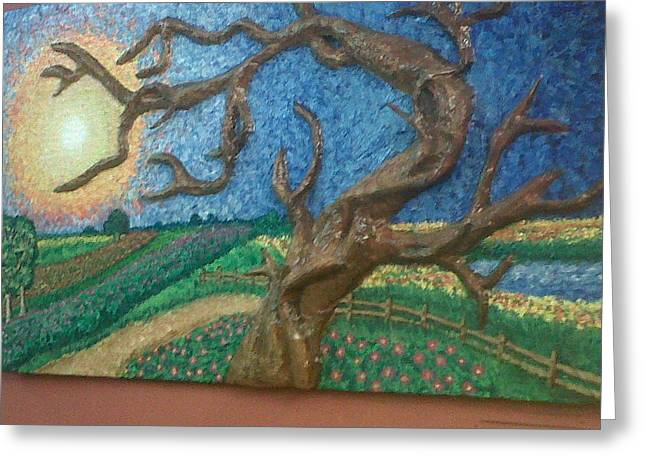 Framed Reliefs Greeting Cards - Stark Tree. Greeting Card by Geetanjali Kapoor
