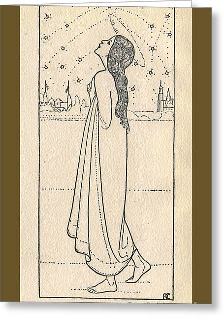 Night Angel Greeting Cards - Starlight nymph angel contemplates the Night Sky Greeting Card by Piepoint Bay Archives