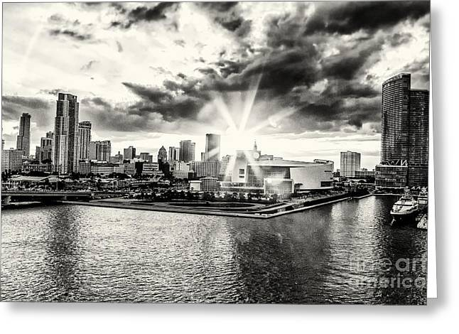 American Airlines Arena Greeting Cards - Starlight Over the American Airlines Arena Greeting Card by Rene Triay Photography