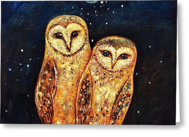 Snowy Owl Greeting Cards - Starlight Owls Greeting Card by Shijun Munns