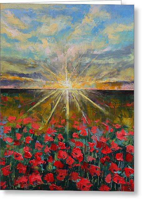 Star Flower Greeting Cards - Starlight Poppies Greeting Card by Michael Creese