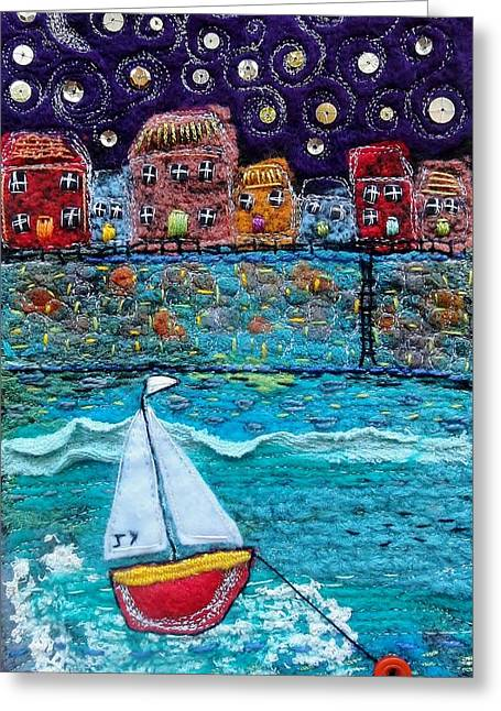 Transportation Tapestries - Textiles Greeting Cards - Starlit Harbour Greeting Card by Janice MacDougall