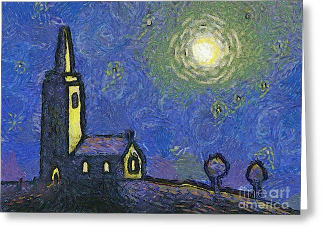 Awesome Greeting Cards - Starry Church Greeting Card by Pixel Chimp