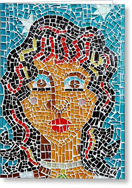 Mosaic Glass Greeting Cards - Starry Eyed Greeting Card by Caroline Street