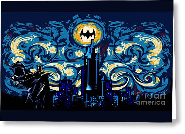Christian Bale Greeting Cards - Starry Knight Greeting Card by Three Second
