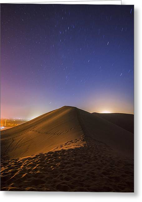 Moon Beach Greeting Cards - Starry Love Affair Greeting Card by Aaron S Bedell