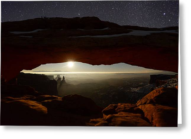 Moonrise Greeting Cards - Starry Mesa Arch Greeting Card by Dustin  LeFevre