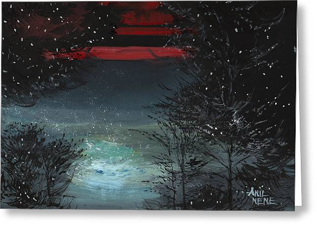 Anil Nene Greeting Cards - Starry Night Greeting Card by Anil Nene
