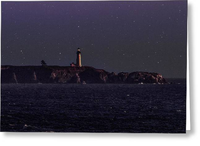 Stars Tapestries - Textiles Greeting Cards - Starry Night at the Coast Greeting Card by Dennis Bucklin