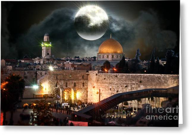 Old Western Photos Mixed Media Greeting Cards - Starry Night At The Dome of the Rock Greeting Card by Michael Braham