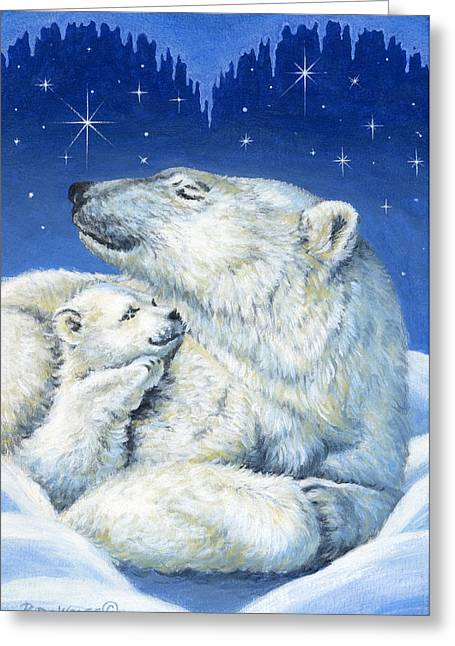 Night Greeting Cards - Starry Night Bears Greeting Card by Richard De Wolfe