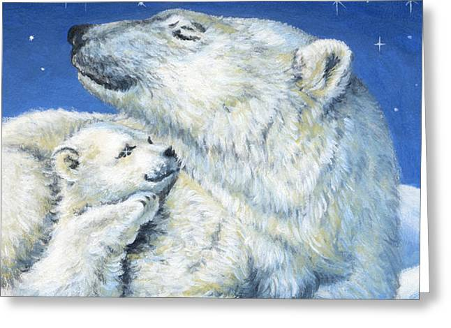 Starry Night Bears Greeting Card by Richard De Wolfe