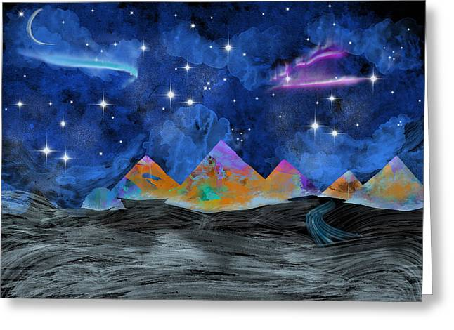 Purple Mountains Drawing Greeting Cards - Starry Night  Greeting Card by Becca Buecher