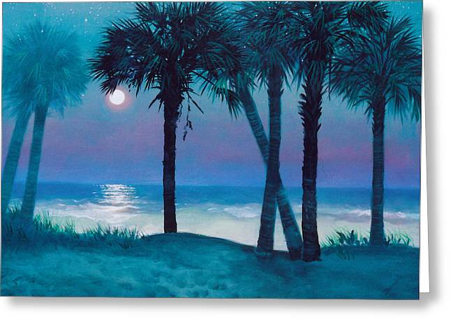 Sand Dunes Paintings Greeting Cards - Starry Night Greeting Card by Blue Sky