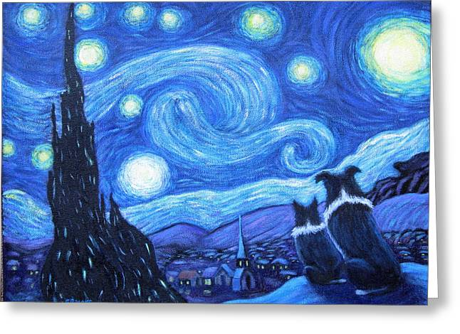 Starry Night Border Collies Greeting Card by Fran Brooks