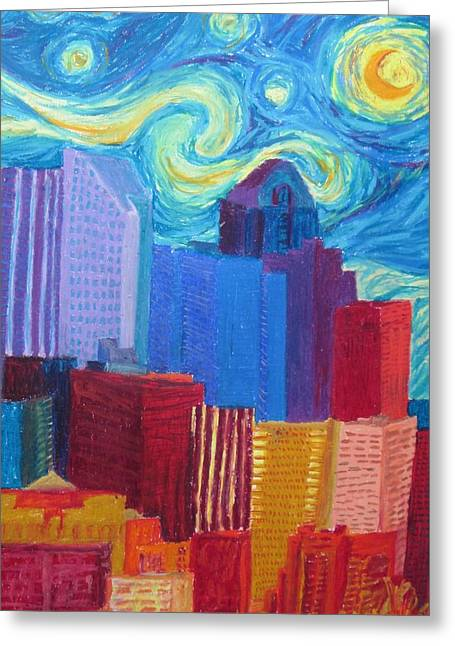Cherie Sexsmith Greeting Cards - Starry Night City Greeting Card by Cherie Sexsmith
