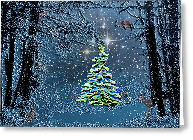 Snowy Night Digital Art Greeting Cards - Starry Night Forest Christmas Greeting Card by Michele  Avanti