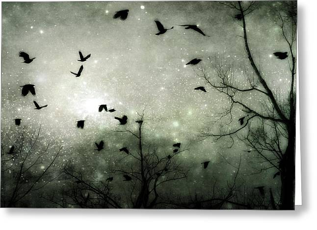 Common Crows Greeting Cards - Starry Night Greeting Card by Gothicolors Donna Snyder