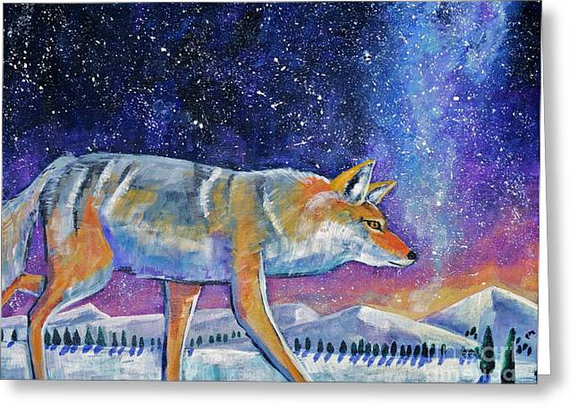 Coyote Art Greeting Cards - Starry Night Greeting Card by Harriet Peck Taylor