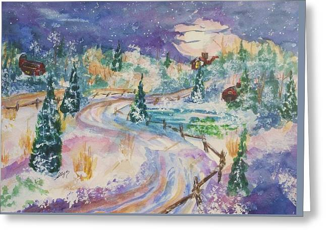 Split Rail Fence Paintings Greeting Cards - Starry Night in a Winter Wonderland Greeting Card by Ellen Levinson