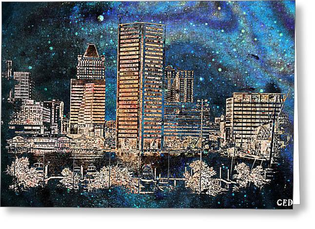Buildings In The Harbor Digital Greeting Cards - Starry Night in Baltimore Md.  Greeting Card by Chet  Dembeck