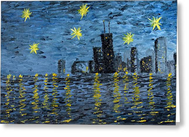 Derrick Rose Greeting Cards - Starry Night in Chicago Greeting Card by Rafay Zafer