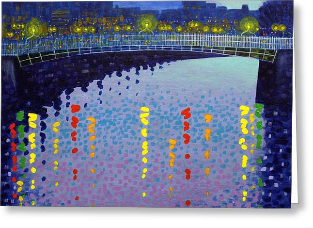 Bridge Framed Prints Greeting Cards - Starry Night In Dublin Half Penny Bridge Greeting Card by John  Nolan