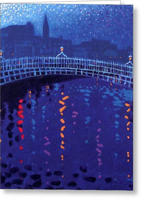Acrylic Art Paintings Greeting Cards - Starry Night In Dublin Greeting Card by John  Nolan