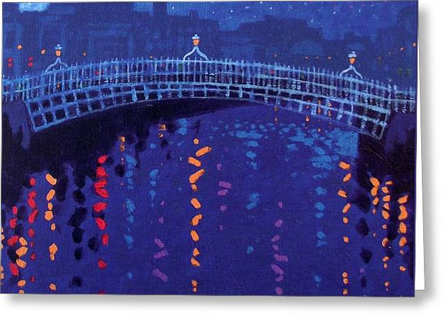 Skyline Paintings Greeting Cards - Starry Night In Dublin Greeting Card by John  Nolan