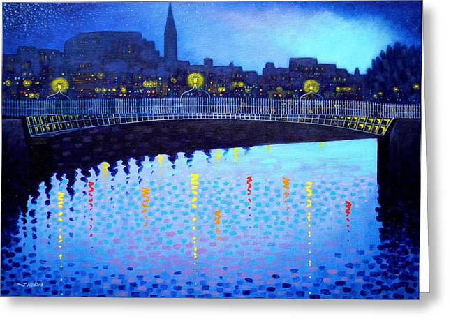 Night Scenes Greeting Cards - Starry Night In Dublin VI Greeting Card by John  Nolan