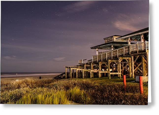 Galveston Photographs Greeting Cards - Starry Night in Galveston Bay Greeting Card by Silvio Ligutti