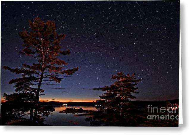 Starry Night In Northern Ontario Greeting Card by Charline Xia