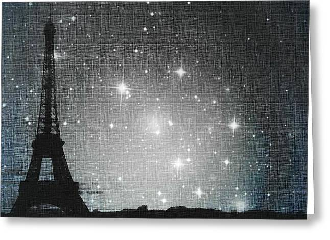 Impressionistic Art Greeting Cards - Starry Night in Paris - Eiffel Tower Photography  Greeting Card by Marianna Mills