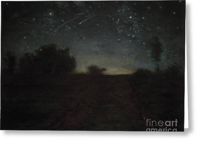 Black Light Paintings Greeting Cards - Starry Night Greeting Card by Jean-Francois Millet