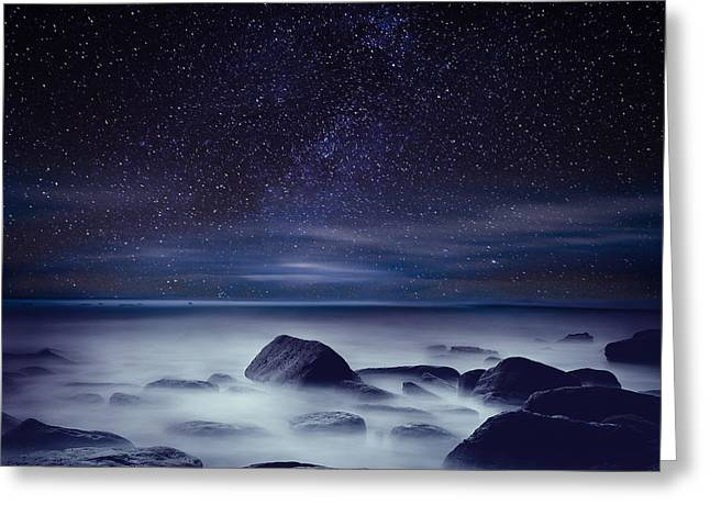 Ocean Moods Greeting Cards - Starry night Greeting Card by Jorge Maia