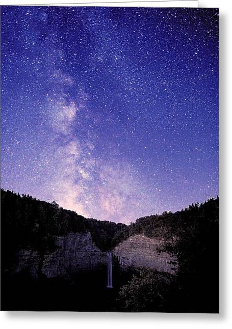 Star Valley Greeting Cards - Starry Night Of Taughannock Waterfalls Greeting Card by Paul Ge